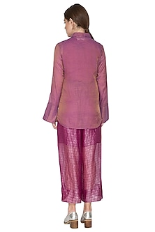 Fuchsia Tissue Silk Collared Shirt by Urvashi Kaur