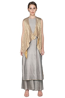 Greyish Gold Reversible Jacket by Urvashi Kaur