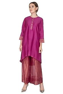 Fuchsia Stripe Tissue Silk Palazzo Pants by Urvashi Kaur