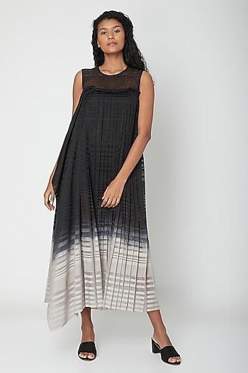 Black Ombre Pleated Dress by Urvashi Kaur