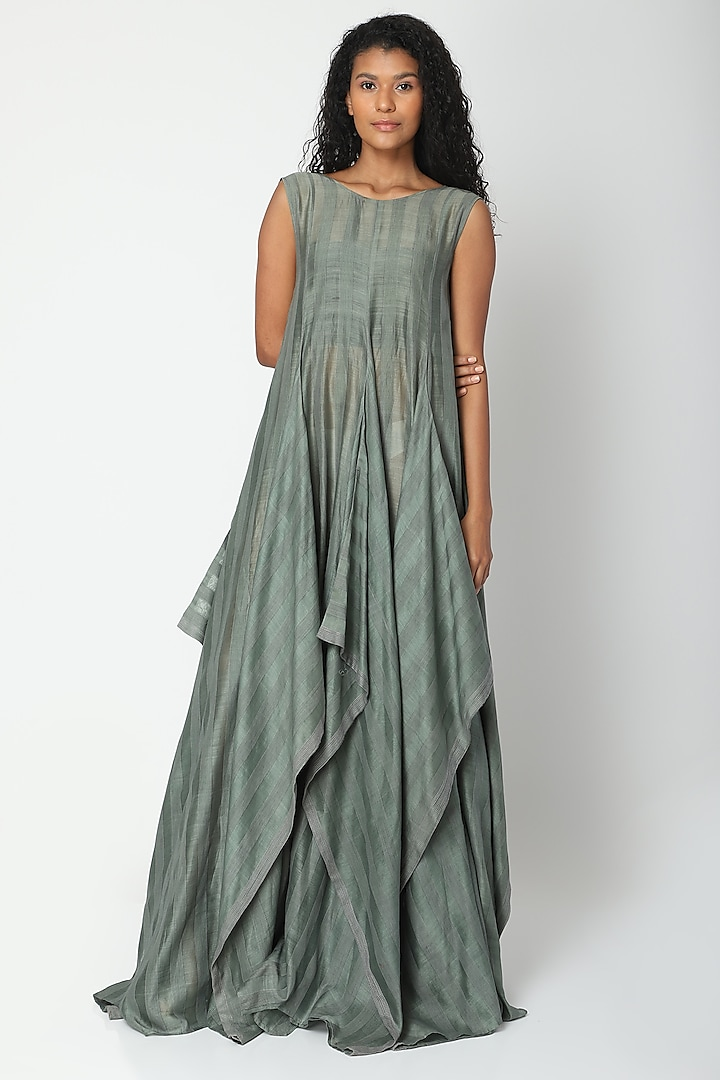 Teal Panelled Tent Dress by Urvashi Kaur