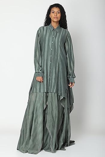 Teal Shirt With Stripes by Urvashi Kaur