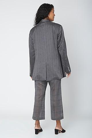 Grey Block Printed Pants by Urvashi Kaur