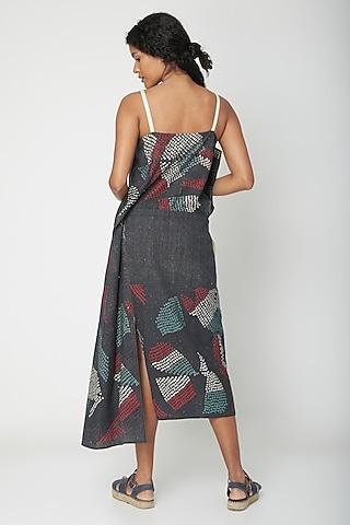 Black Shibori Print Dress by Urvashi Kaur