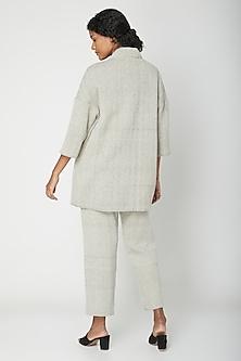 Ecru Cotton Reversible Jacket by Urvashi Kaur