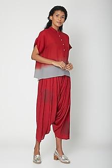 Red Printed Salwar Pants by Urvashi Kaur