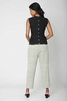 Ecru Cotton Handwoven Pants by Urvashi Kaur