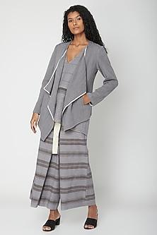 Grey Handwoven Cotton Jacket by Urvashi Kaur