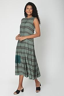 Teal Printed & Pleated Dress by Urvashi Kaur