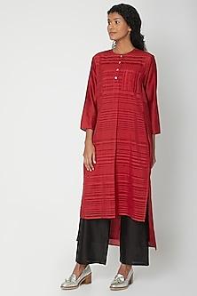 Black Chanderi Silk Pants by Urvashi Kaur