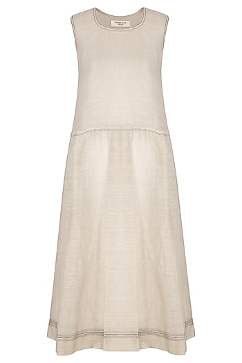 Grey Block Printed Pleated Dress by Urvashi Kaur