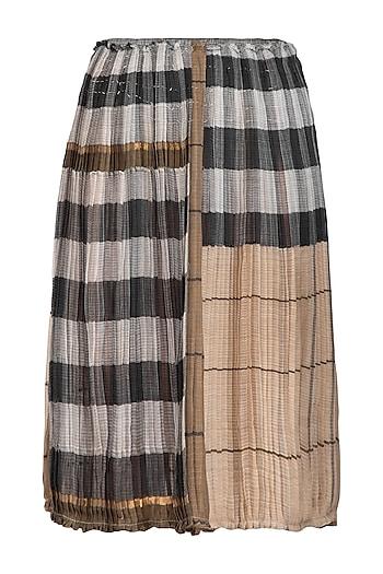 Grey Micro Pleated Sheer Skirt by Urvashi Kaur