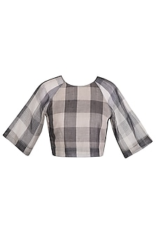 Grey Checks Sheer Crop Top by Urvashi Kaur