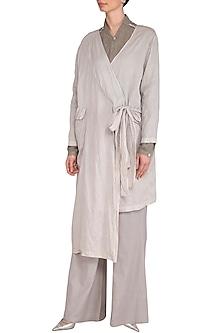 Grey Crushed Tie-Up Overlay Jacket by Urvashi Kaur