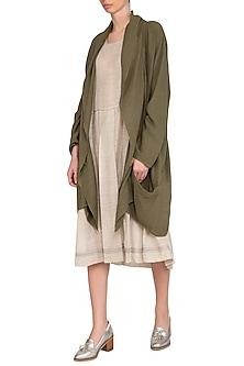 Olive Green Textured Slouchy Jacket by Urvashi Kaur