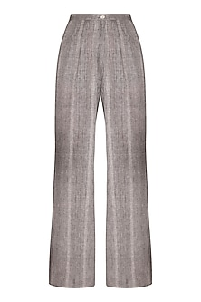 Grey Organic Cotton Flared Pants by Urvashi Kaur