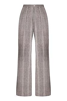 Grey Organic Cotton Flared Pants by Urvashi Kaur