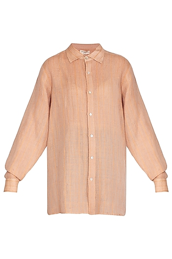 Salmon Pink Textured Sheer Shirt by Urvashi Kaur