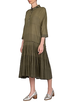 Olive Green Hand Tucked Dress by Urvashi Kaur