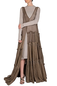 Olive Green Block Printed Tiered Sheer Dress by Urvashi Kaur