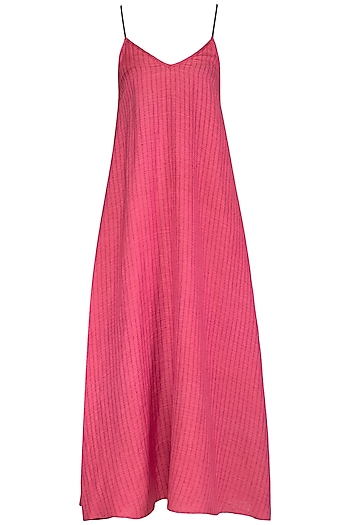 Fuchsia Pink Organic Cotton Slip Dress by Urvashi Kaur