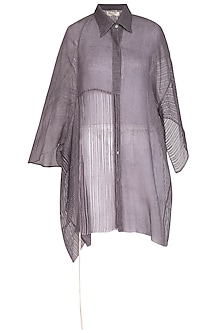Grey Block Printed Oversized Sheer Shirt by Urvashi Kaur