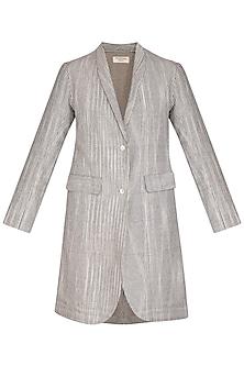 Grey Textured Boyfriend Jacket by Urvashi Kaur