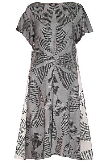 Grey Shibori Printed Panelled Dress by Urvashi Kaur