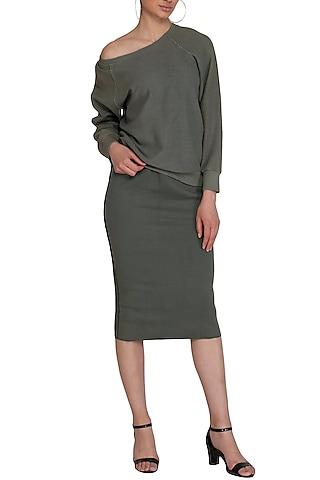 Grey Pencil Skirt by Kapda By Urvashi Kaur
