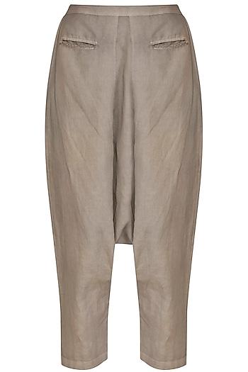 Light Khaki Drop Crotch Pants by Kapda By Urvashi Kaur