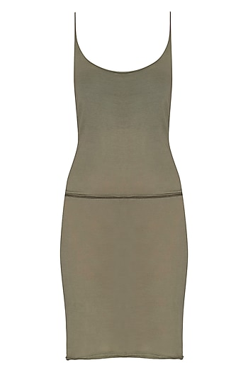 Light Khaki Slip Dress by Kapda By Urvashi Kaur