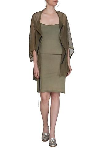 Light Khaki Slip Dress by Kapda By Urvashi Kaur