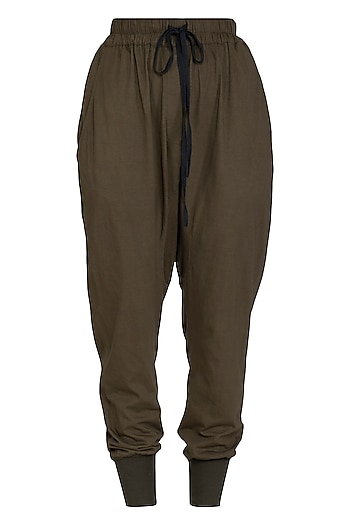 Khaki Low Crotch Jogger Pants by Kapda By Urvashi Kaur