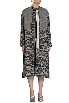 Light Grey Camouflage Mesh Trench by Kapda By Urvashi Kaur