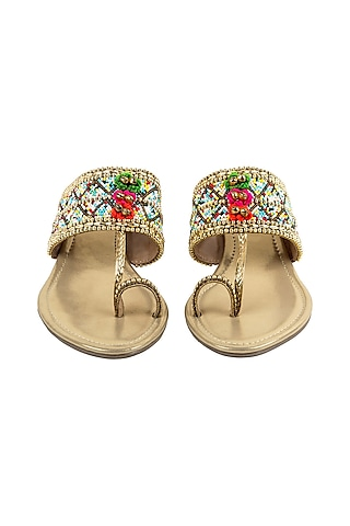 Gold Embroidered Wedges by VANILLA MOON