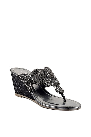 Black Bead Embroidered Wedges by VANILLA MOON