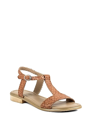 Tan Brown Leather Sandals by VANILLA MOON