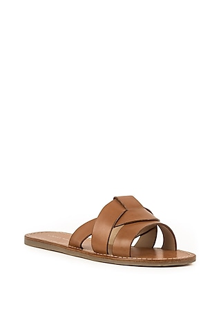Tan Brown Leather Slippers by VANILLA MOON