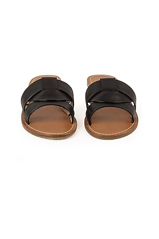 Black Leather Slippers by VANILLA MOON