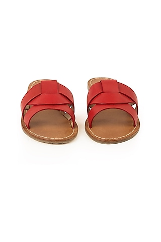 Red Leather Slippers by VANILLA MOON