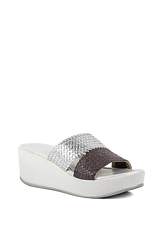 Silver Two-Toned Wedges by VANILLA MOON