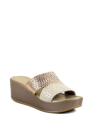 Rose Gold Two Toned Wedges by VANILLA MOON