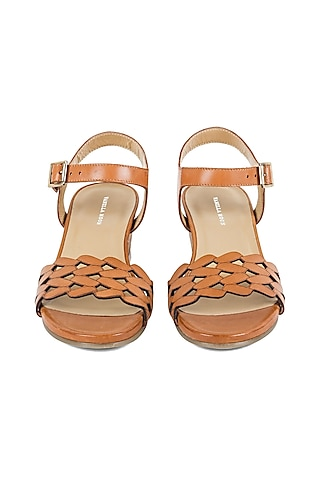 Tan Brown Strappy Sandals by VANILLA MOON