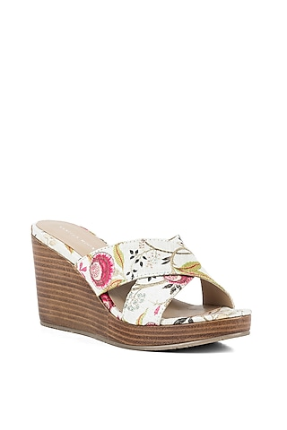 Off-white Floral Wedges by VANILLA MOON