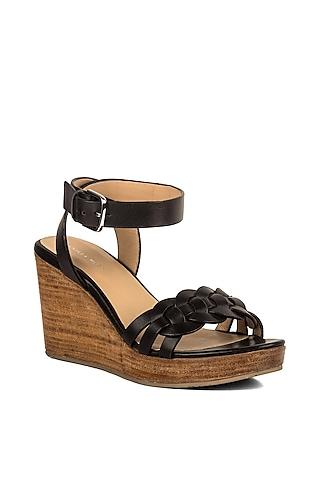 Black Leather Platform Heels by VANILLA MOON