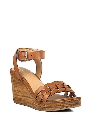 Tan Brown Leather Platform Heels by VANILLA MOON