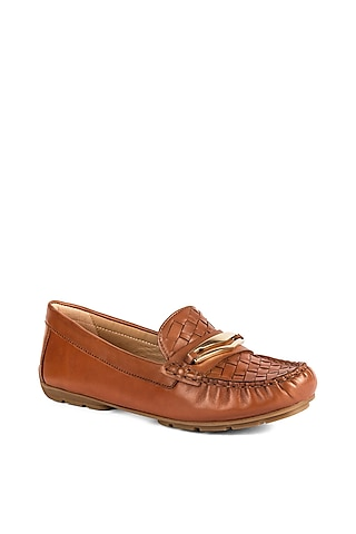 Tan Brown Leather Moccasins by VANILLA MOON