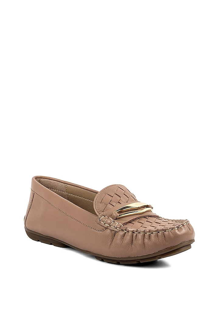 Nude Leather Moccasins by VANILLA MOON