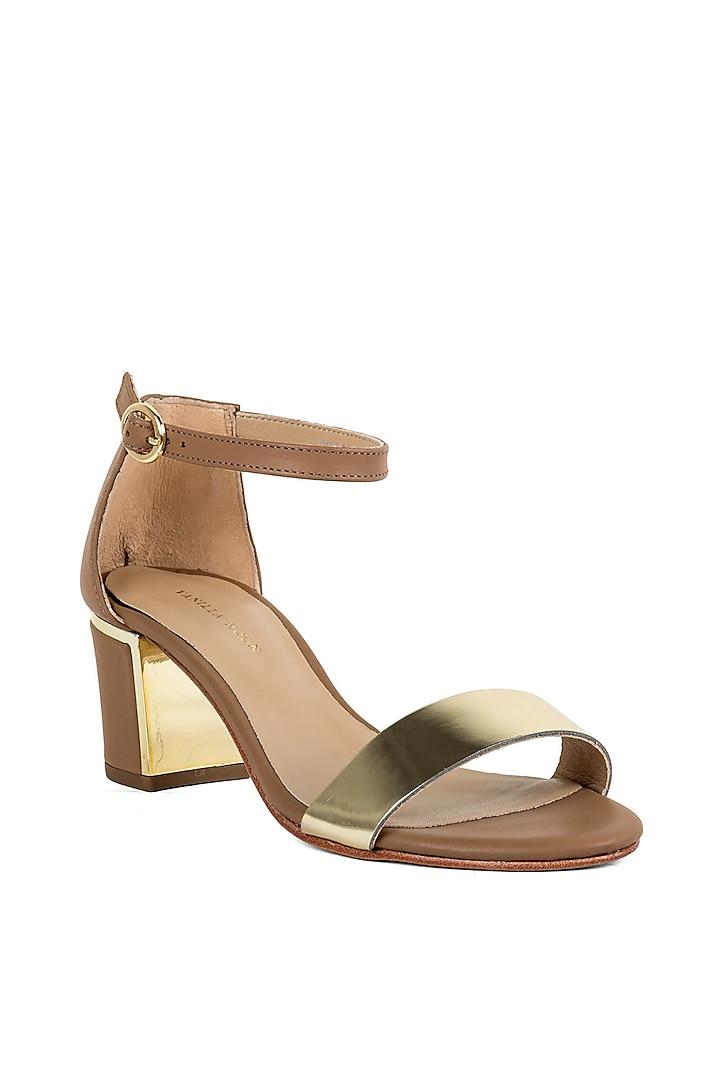 Tan Brown Metallic Heels by VANILLA MOON