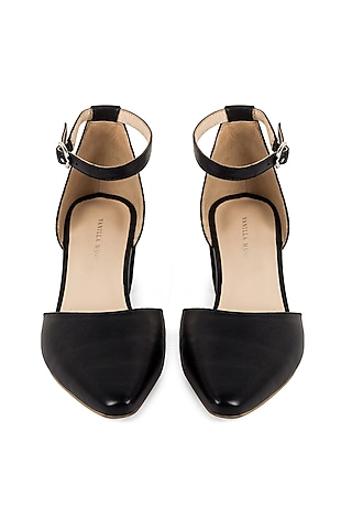 Black Leather Sandals by VANILLA MOON